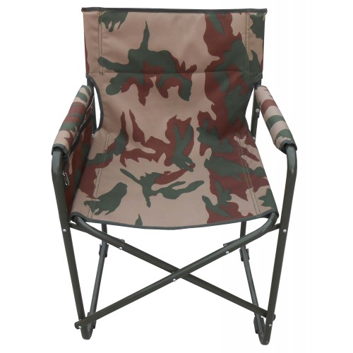 Camping Folding Chair With Arms Frame Iron Camouflage